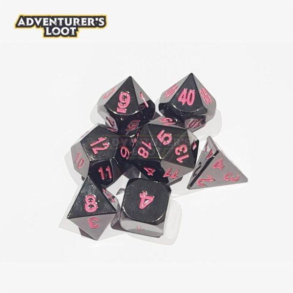 metal-dice-black-nickel-pink-dice-set-dice-stack