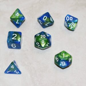 Blue & Green RPG Dice